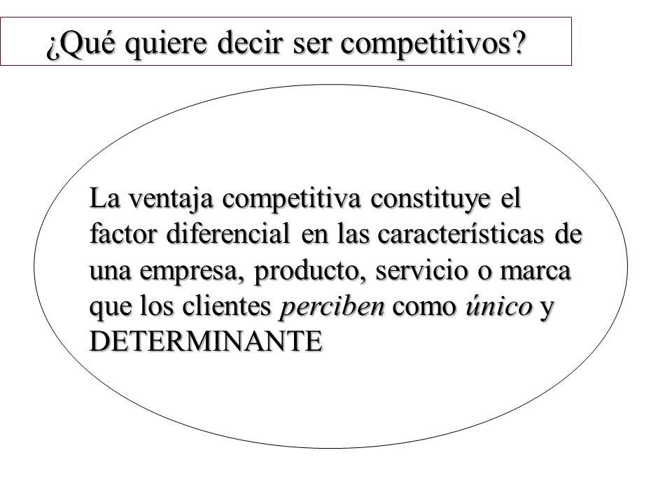 ¿Qué quiere decir ser competitivos? La ventaja competitiva constituye el factor diferencial en las características de una empresa, producto, servicio