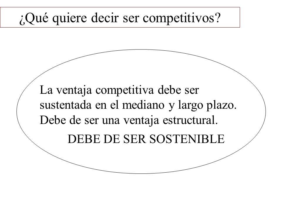 ¿Qué quiere decir ser competitivos? La ventaja competitiva debe ser sustentada en el mediano y largo plazo. Debe de ser una ventaja estructural. DEBE