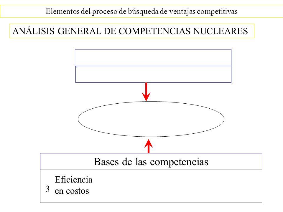 Elementos del proceso de búsqueda de ventajas competitivas ANÁLISIS GENERAL DE COMPETENCIAS NUCLEARES Bases de las competencias Eficiencia en costos 3