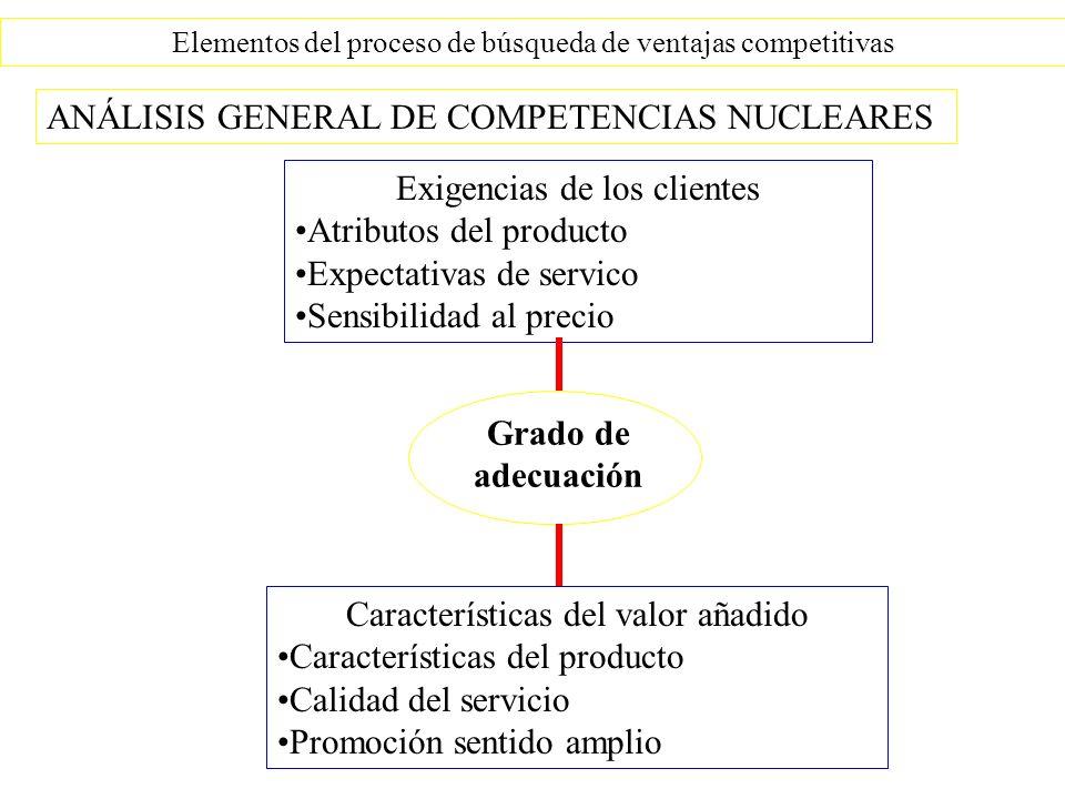 Elementos del proceso de búsqueda de ventajas competitivas Grado de adecuación ANÁLISIS GENERAL DE COMPETENCIAS NUCLEARES Exigencias de los clientes A