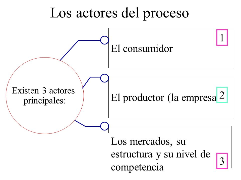 Los actores del proceso El consumidor Existen 3 actores principales: El productor (la empresa) Los mercados, su estructura y su nivel de competencia 1