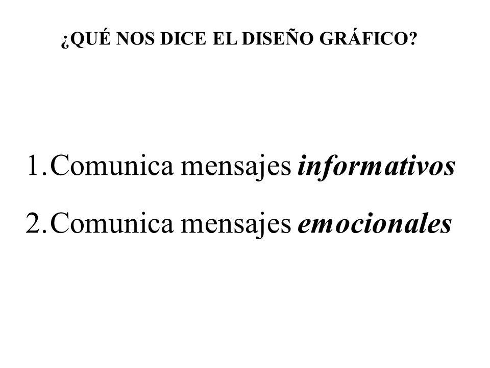 ¿QUÉ NOS DICE EL DISEÑO GRÁFICO? 1.Comunica mensajes informativos 2.Comunica mensajes emocionales