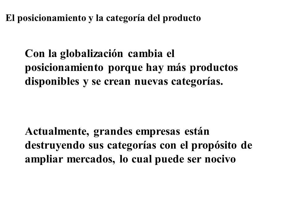 El posicionamiento y la categoría del producto Con la globalización cambia el posicionamiento porque hay más productos disponibles y se crean nuevas c