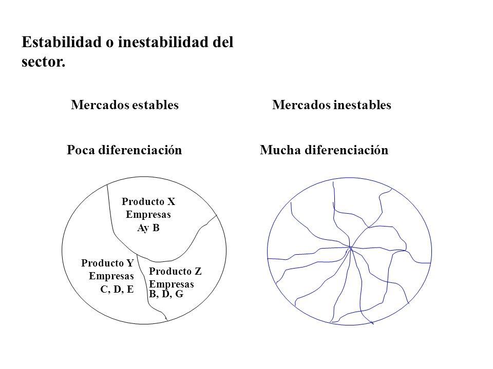 Estabilidad o inestabilidad del sector. Producto X Empresas Ay B Producto Z Empresas B, D, G Producto Y Empresas C, D, E Poca diferenciaciónMucha dife