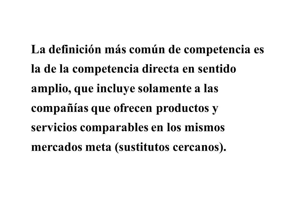 La definición más común de competencia es la de la competencia directa en sentido amplio, que incluye solamente a las compañías que ofrecen productos y servicios comparables en los mismos mercados meta (sustitutos cercanos).