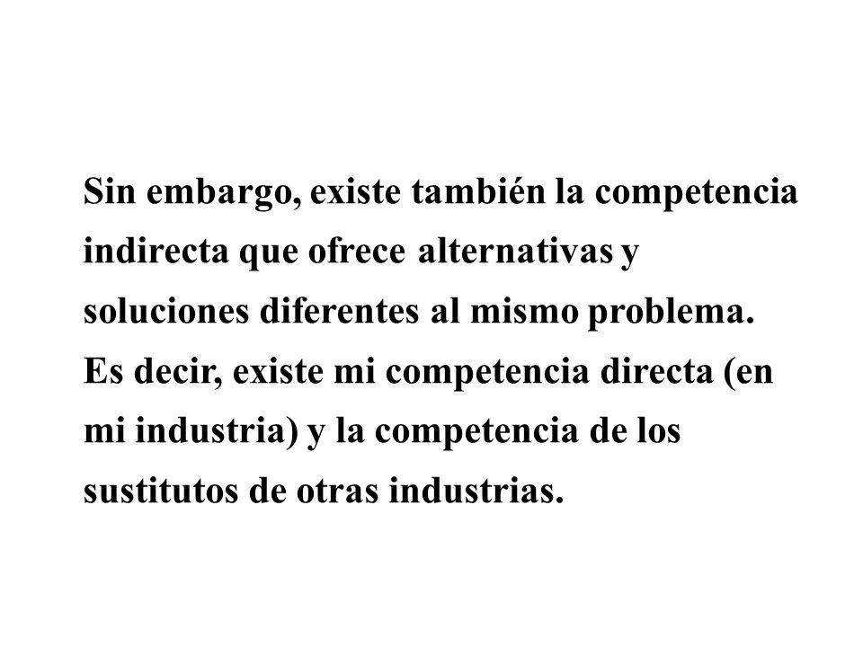 Sin embargo, existe también la competencia indirecta que ofrece alternativas y soluciones diferentes al mismo problema.