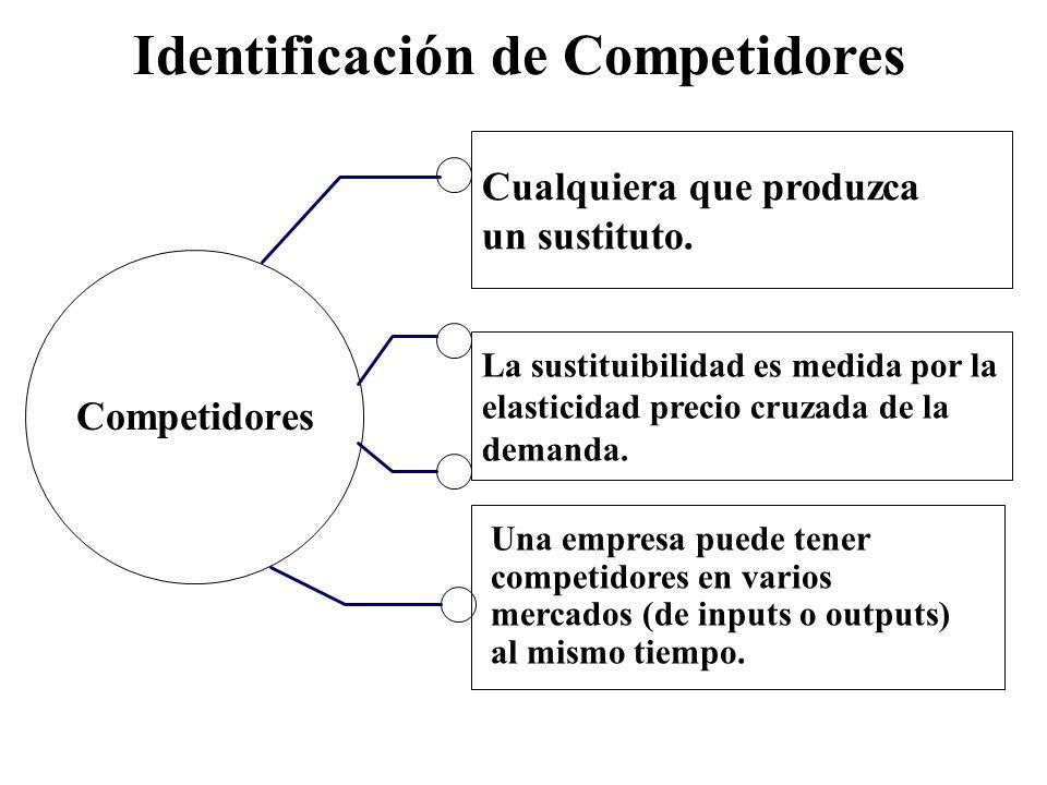 Identificación de Competidores Cualquiera que produzca un sustituto. Competidores La sustituibilidad es medida por la elasticidad precio cruzada de la
