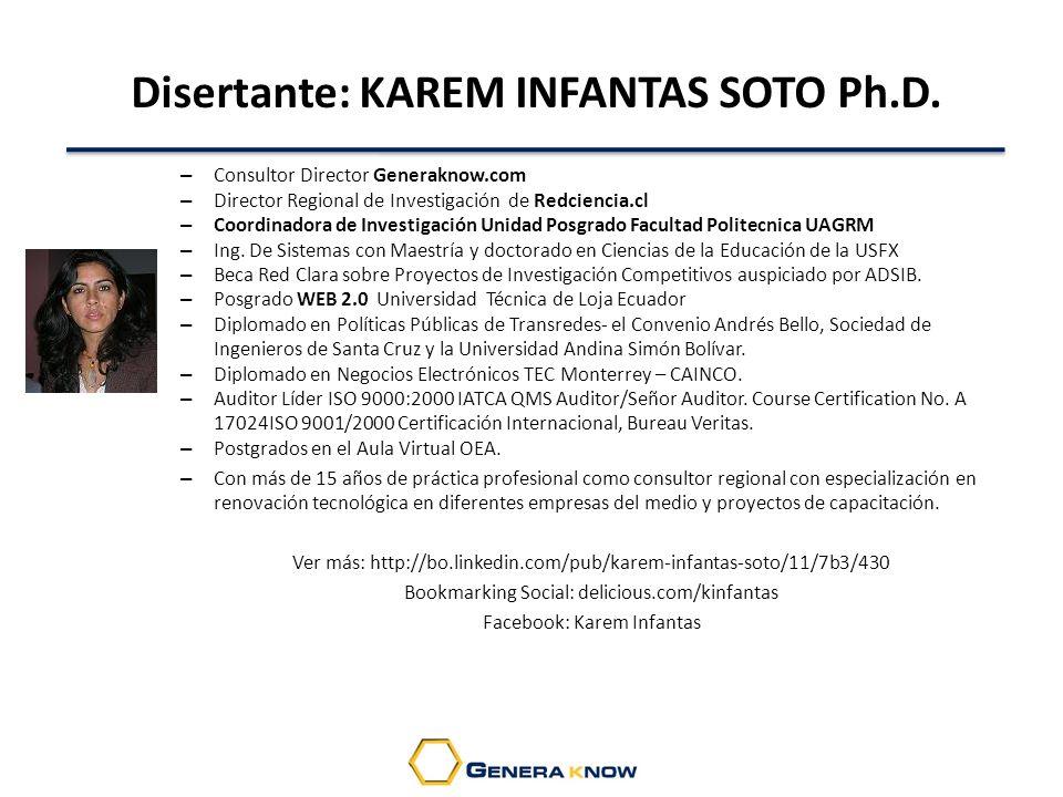 Disertante: KAREM INFANTAS SOTO Ph.D.