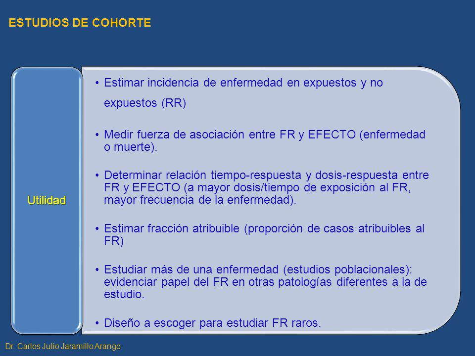 Estimar incidencia de enfermedad en expuestos y no expuestos (RR) Medir fuerza de asociación entre FR y EFECTO (enfermedad o muerte). Determinar relac