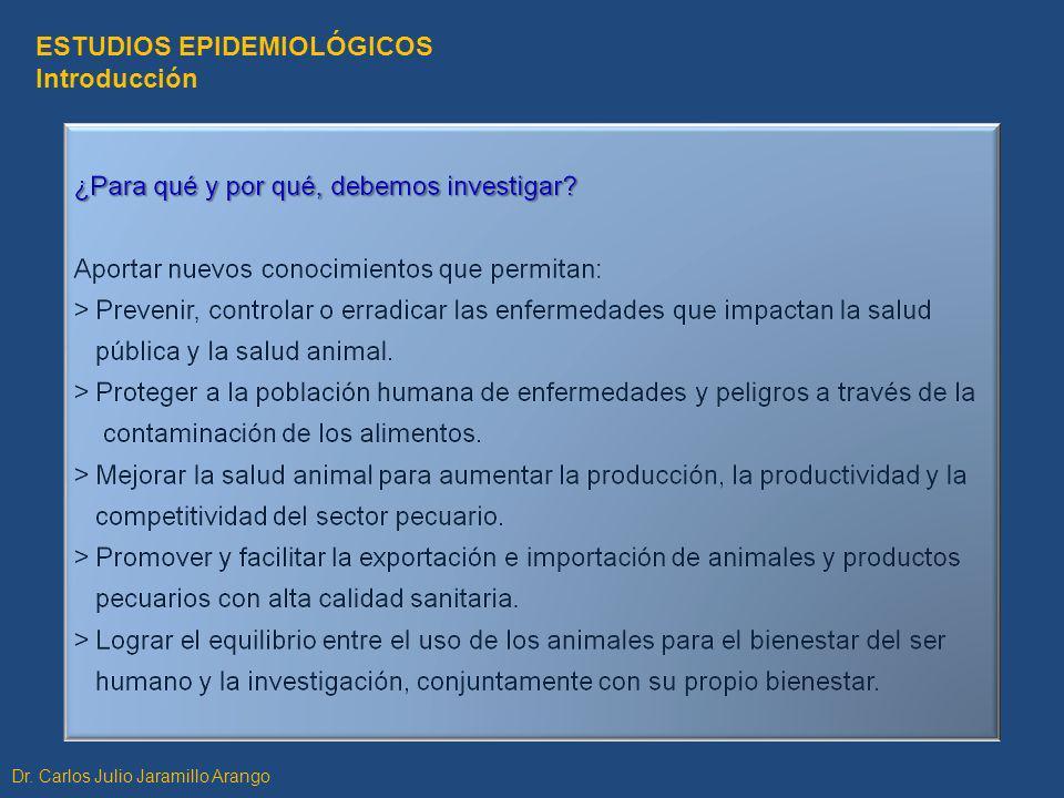ESTUDIOS EPIDEMIOLÓGICOS Introducción Dr. Carlos Julio Jaramillo Arango