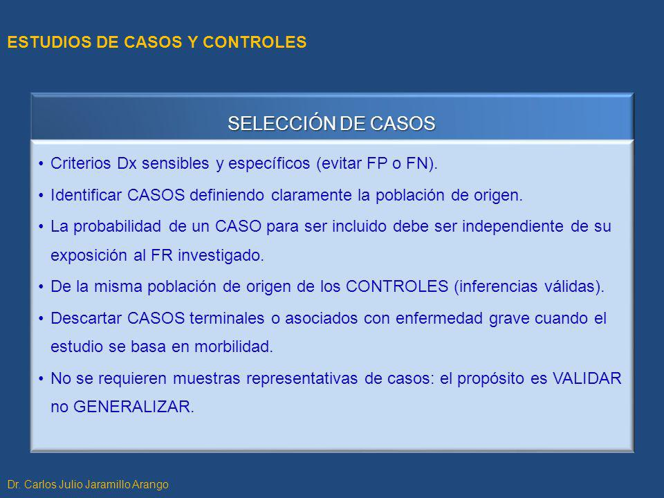 SELECCIÓN DE CASOS Criterios Dx sensibles y específicos (evitar FP o FN). Identificar CASOS definiendo claramente la población de origen. La probabili