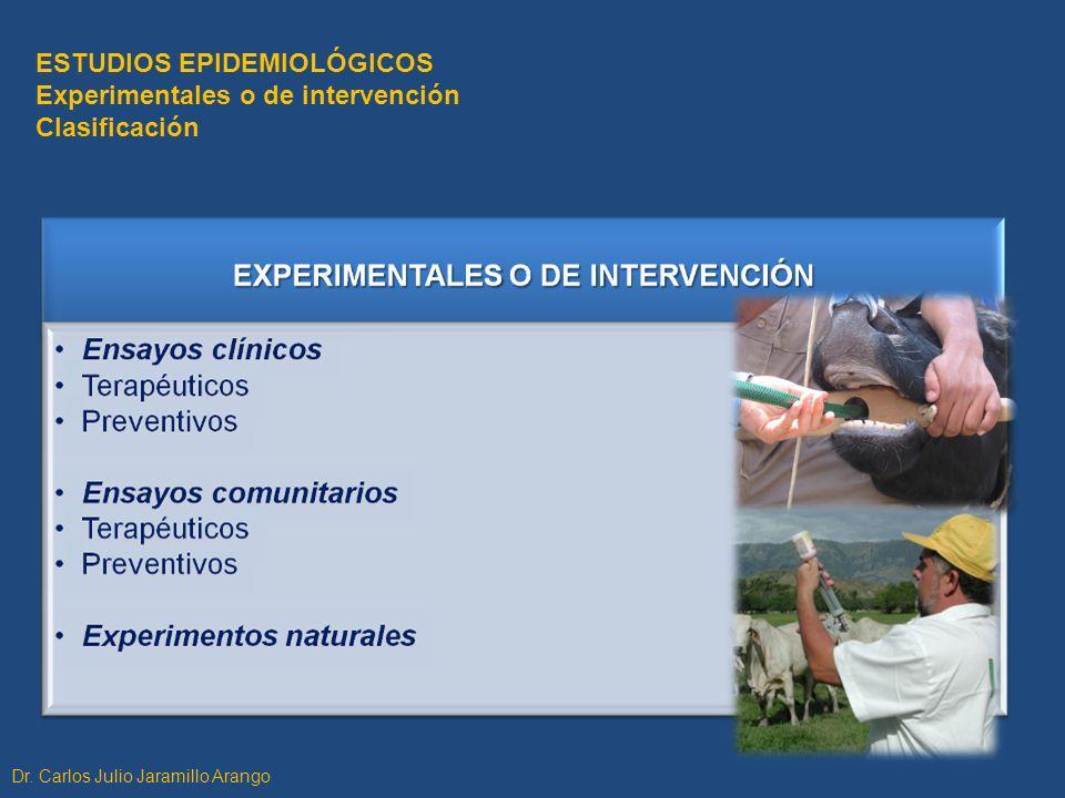 ESTUDIOS EPIDEMIOLÓGICOS Experimentales o de intervención Clasificación Dr. Carlos Julio Jaramillo Arango