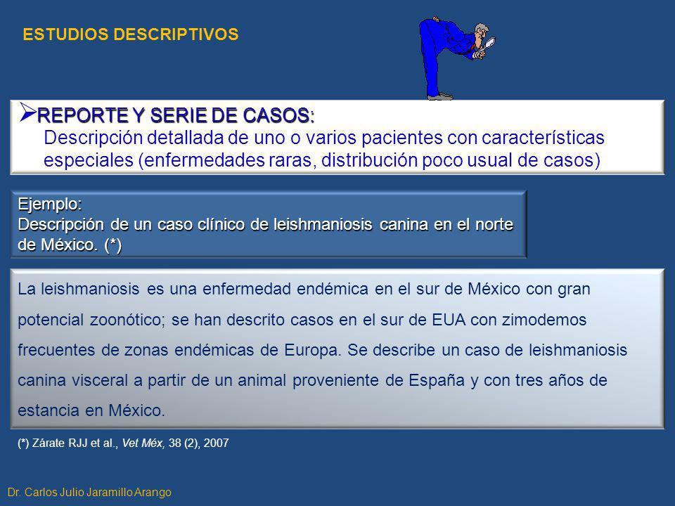 REPORTE Y SERIE DE CASOS: Descripción detallada de uno o varios pacientes con características especiales (enfermedades raras, distribución poco usual