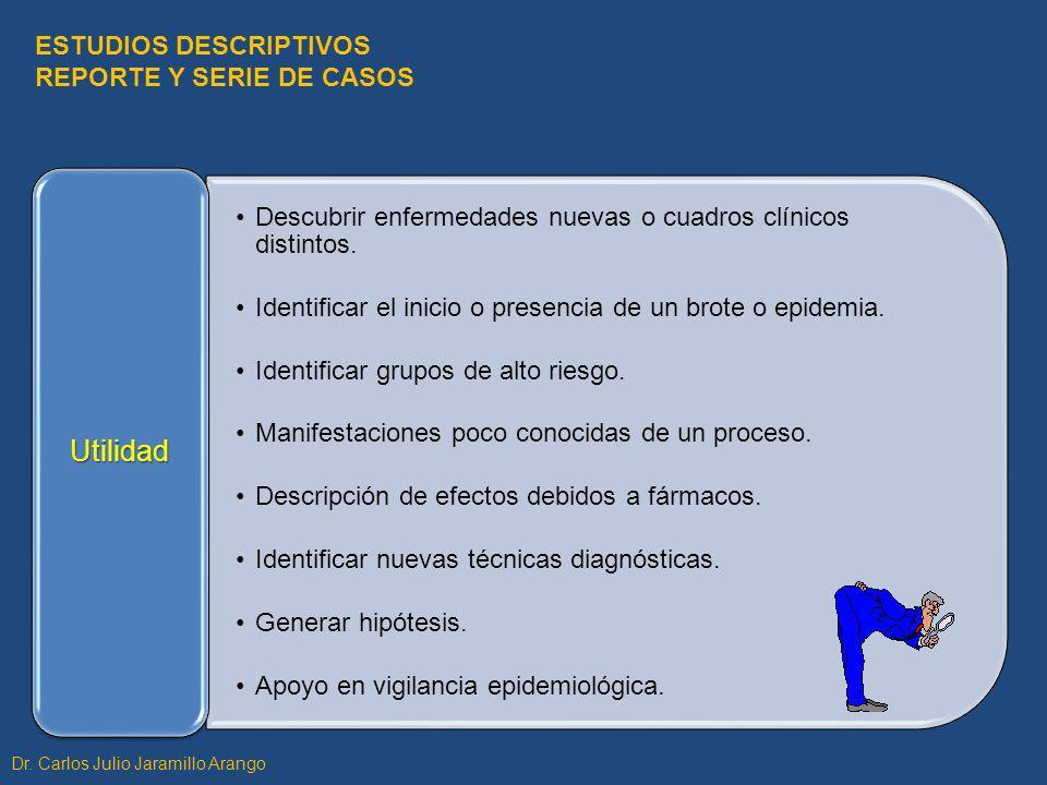 SELECCIÓN DE CASOS Criterios Dx sensibles y específicos (evitar FP o FN).