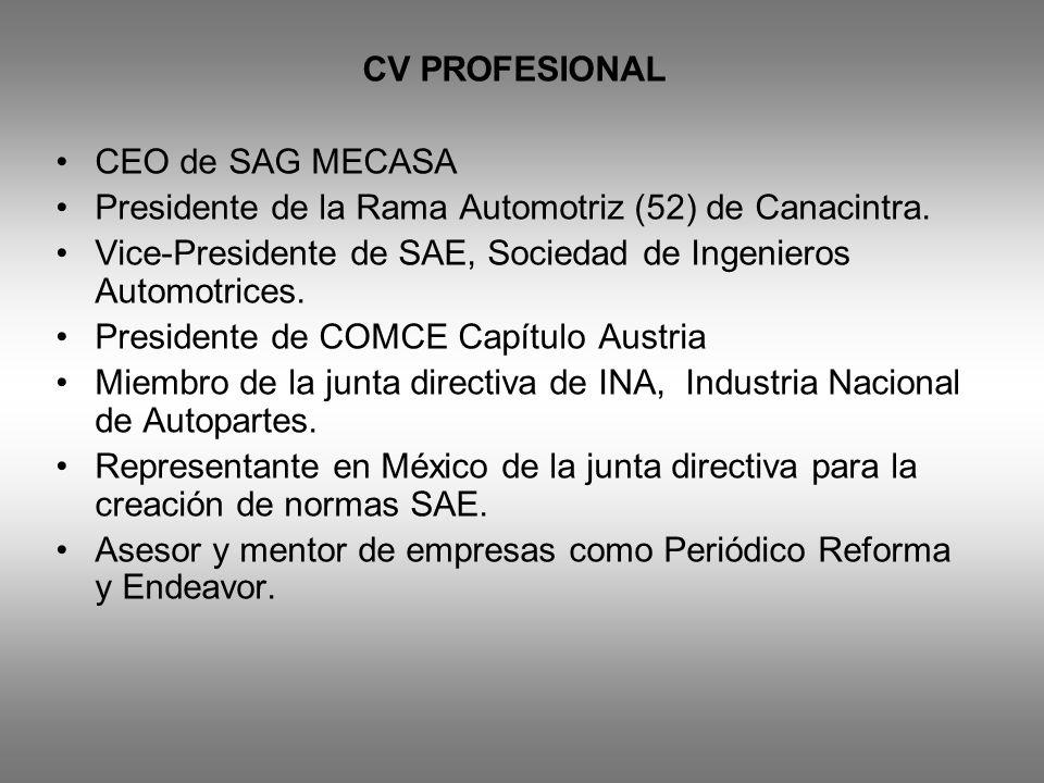 CV PROFESIONAL CEO de SAG MECASA Presidente de la Rama Automotriz (52) de Canacintra. Vice-Presidente de SAE, Sociedad de Ingenieros Automotrices. Pre