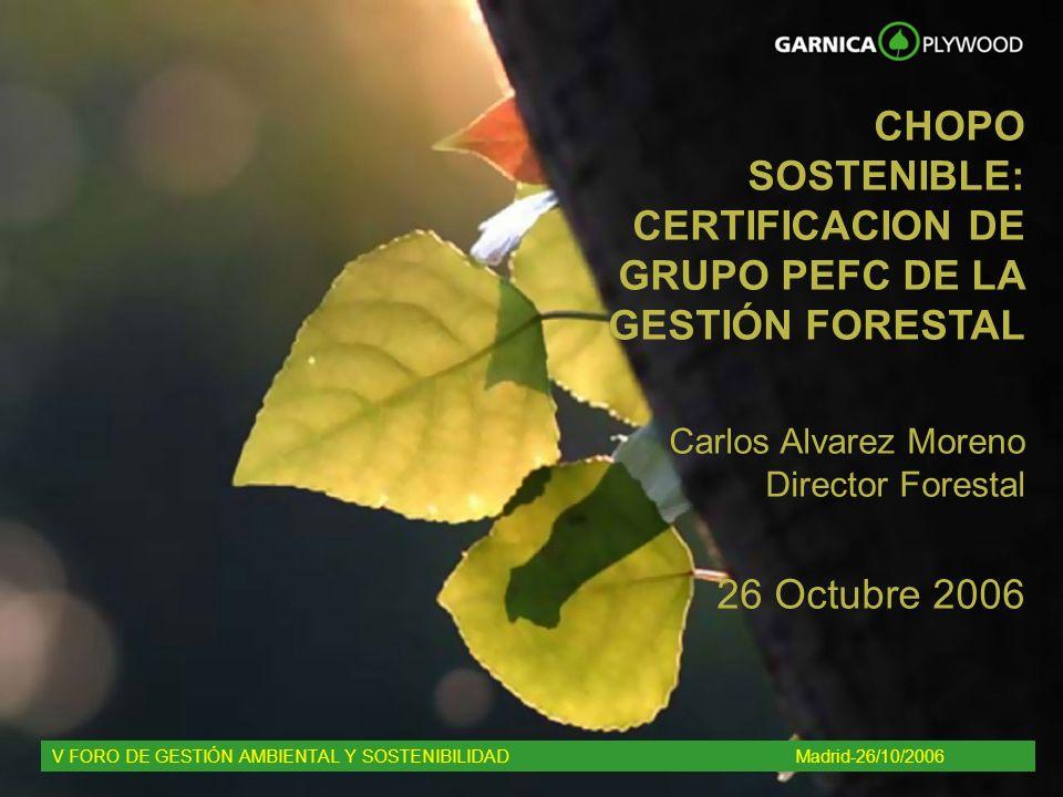 CHOPO SOSTENIBLE: CERTIFICACION DE GRUPO PEFC DE LA GESTIÓN FORESTAL Carlos Alvarez Moreno Director Forestal 26 Octubre 2006 V FORO DE GESTIÓN AMBIENT