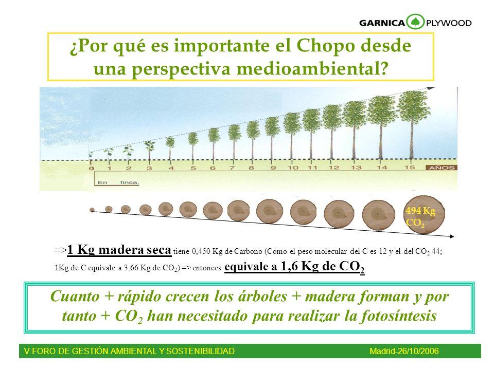 ¿Por qué es importante el Chopo desde una perspectiva medioambiental? => 1 Kg madera seca tiene 0,450 Kg de Carbono (Como el peso molecular del C es 1