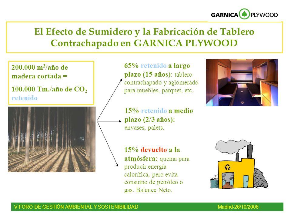 El Efecto de Sumidero y la Fabricación de Tablero Contrachapado en GARNICA PLYWOOD 200.000 m 3 /año de madera cortada = 100.000 Tm./año de CO 2 reteni
