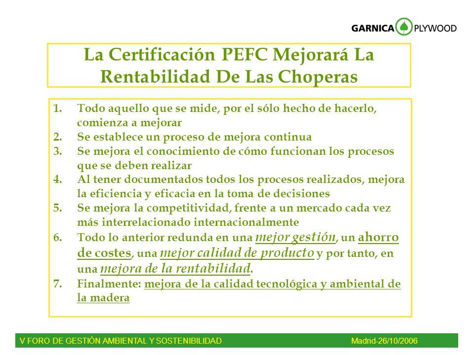 La Certificación PEFC Mejorará La Rentabilidad De Las Choperas 1.Todo aquello que se mide, por el sólo hecho de hacerlo, comienza a mejorar 2.Se estab