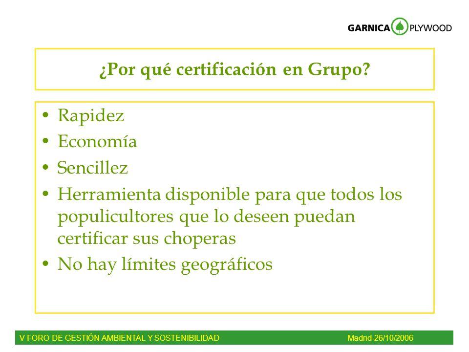 ¿Por qué certificación en Grupo? Rapidez Economía Sencillez Herramienta disponible para que todos los populicultores que lo deseen puedan certificar s