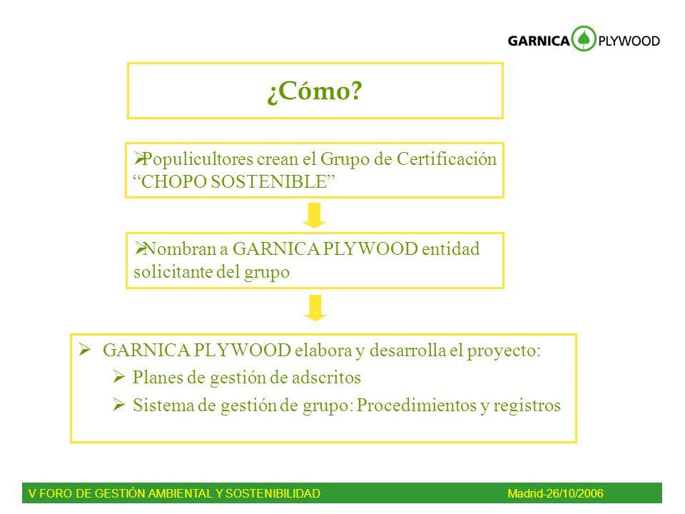 ¿Cómo? GARNICA PLYWOOD elabora y desarrolla el proyecto: Planes de gestión de adscritos Sistema de gestión de grupo: Procedimientos y registros V FORO