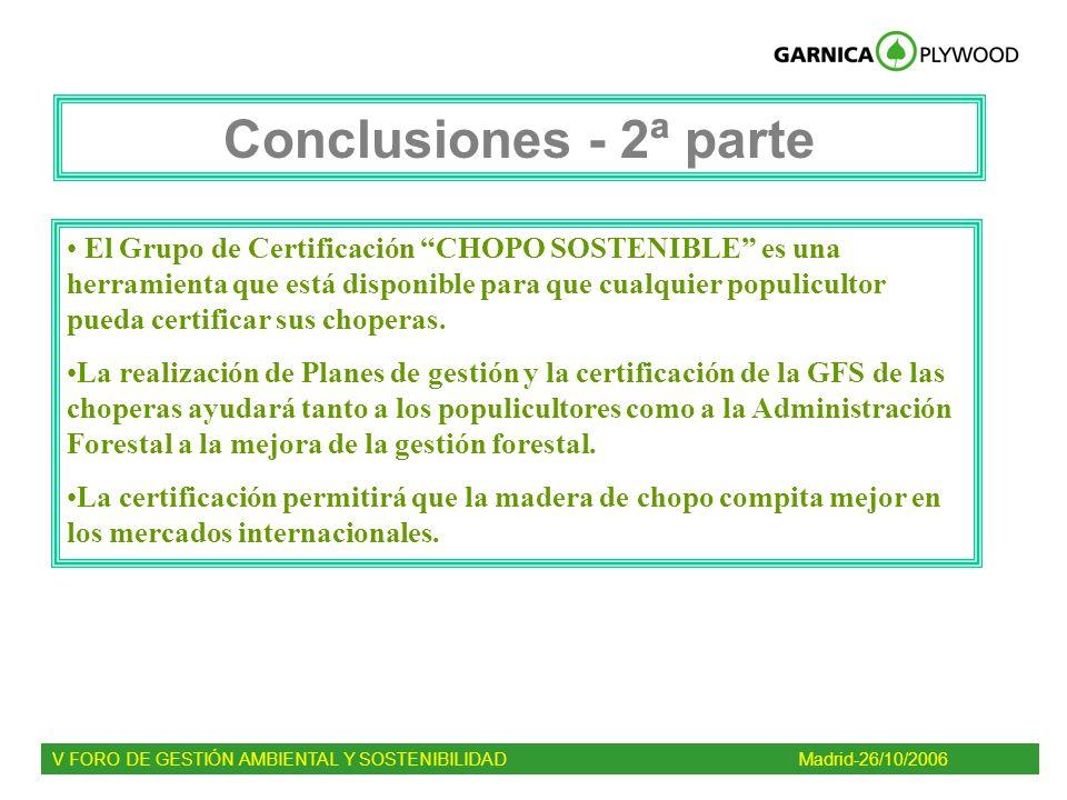 Conclusiones - 2ª parte El Grupo de Certificación CHOPO SOSTENIBLE es una herramienta que está disponible para que cualquier populicultor pueda certif