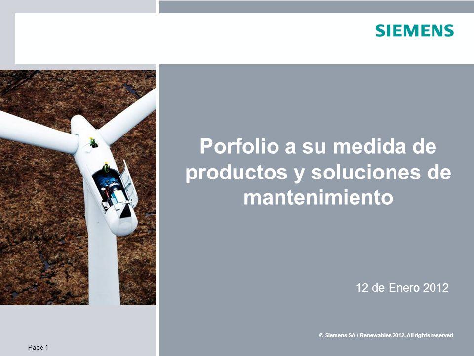 E S SR WP Confidential / © Siemens AG / Service Renewables 2010.