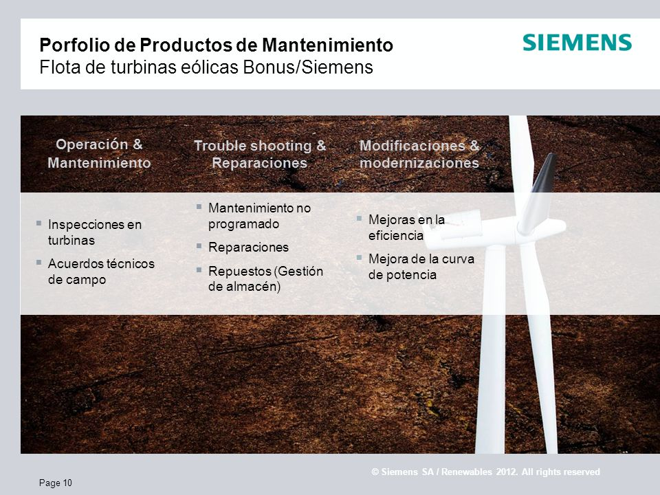 E S SR WP Confidential / © Siemens AG / Service Renewables 2010. All rights reserved Page 10 Porfolio de Productos de Mantenimiento Flota de turbinas