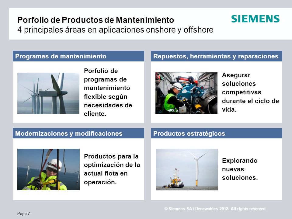 E S SR WP Confidential / © Siemens AG / Service Renewables 2010. All rights reserved Page 7 Porfolio de Productos de Mantenimiento 4 principales áreas