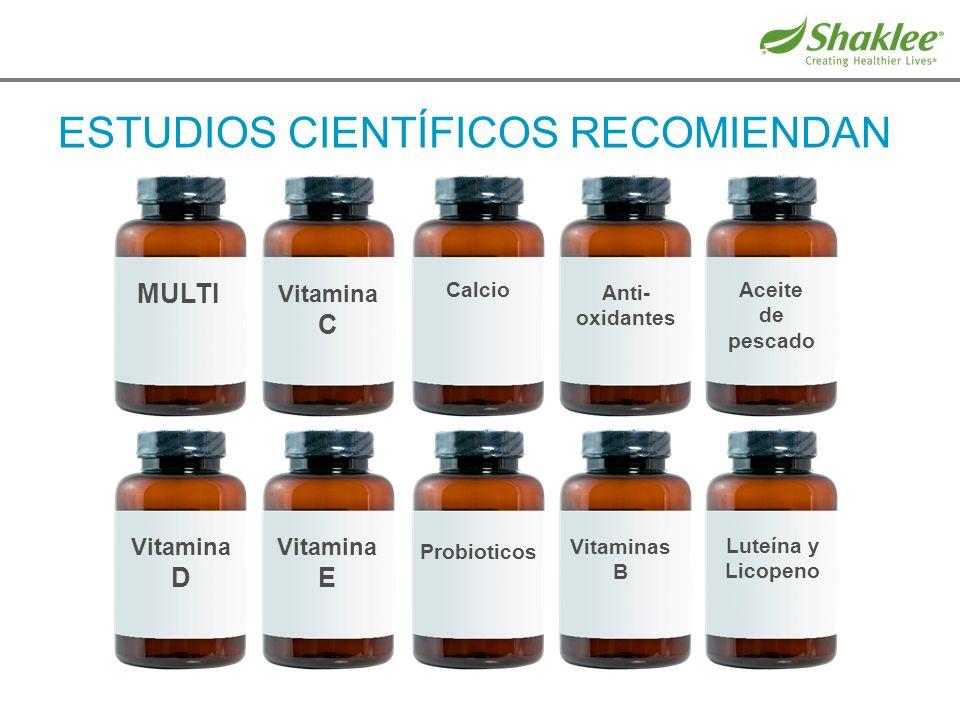 ESTUDIOS CIENTÍFICOS RECOMIENDAN Vitamina D Vitamina E Probioticos Vitaminas B Luteína y Licopeno MULTI Vitamina C Calcio Anti- oxidantes Aceite de pe