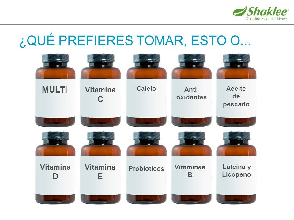 ¿QUÉ PREFIERES TOMAR, ESTO O... Vitamina D Vitamina E Probioticos Vitaminas B Luteína y Licopeno MULTI Vitamina C Calcio Anti- oxidantes Aceite de pes