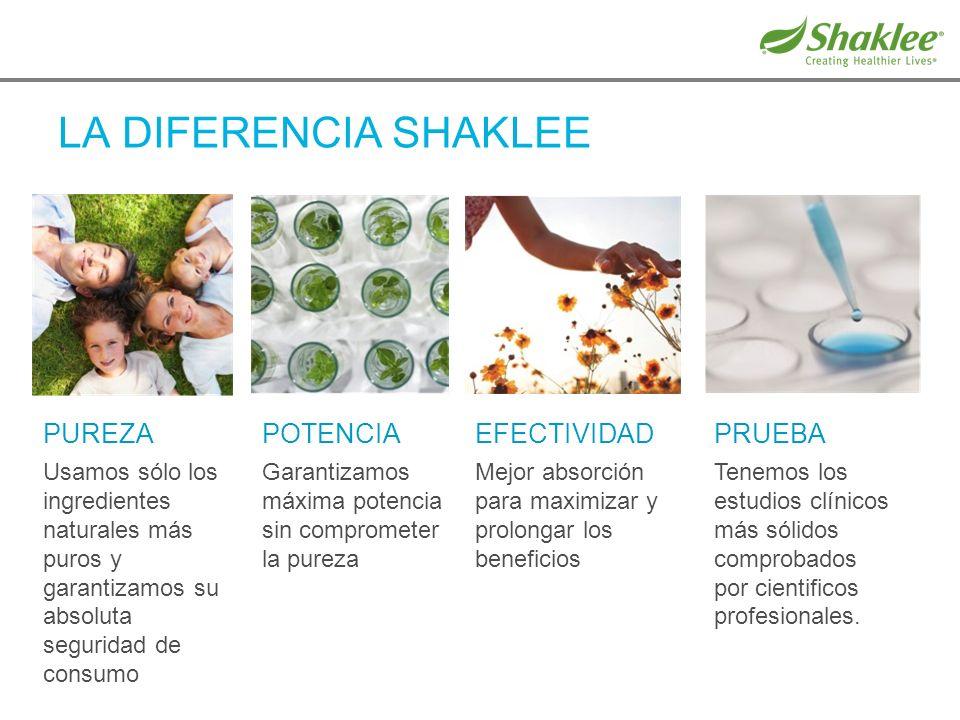 LA DIFERENCIA SHAKLEE PUREZA Usamos sólo los ingredientes naturales más puros y garantizamos su absoluta seguridad de consumo POTENCIA Garantizamos má