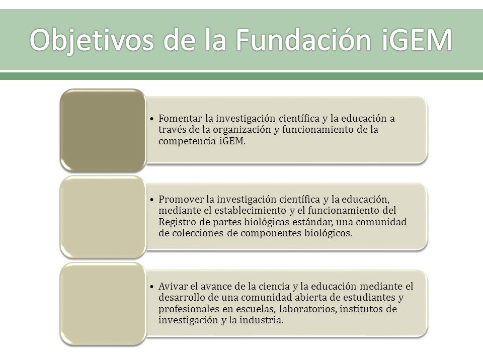 Fomentar la investigación científica y la educación a través de la organización y funcionamiento de la competencia iGEM. Promover la investigación cie