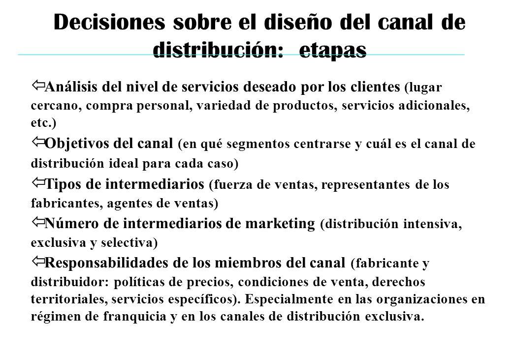 Decisiones sobre el diseño del canal de distribución: etapas ï Análisis del nivel de servicios deseado por los clientes (lugar cercano, compra persona