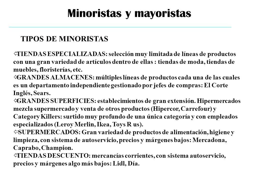 Minoristas y mayoristas ïTIENDAS ESPECIALIZADAS: selección muy limitada de líneas de productos con una gran variedad de artículos dentro de ellas : ti