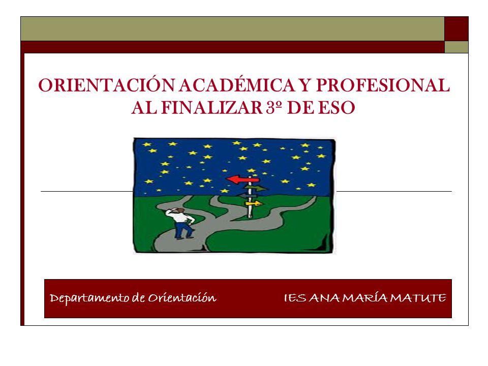 ORIENTACIÓN ACADÉMICA Y PROFESIONAL AL FINALIZAR 3º DE ESO Departamento de Orientación IES ANA MARÍA MATUTE