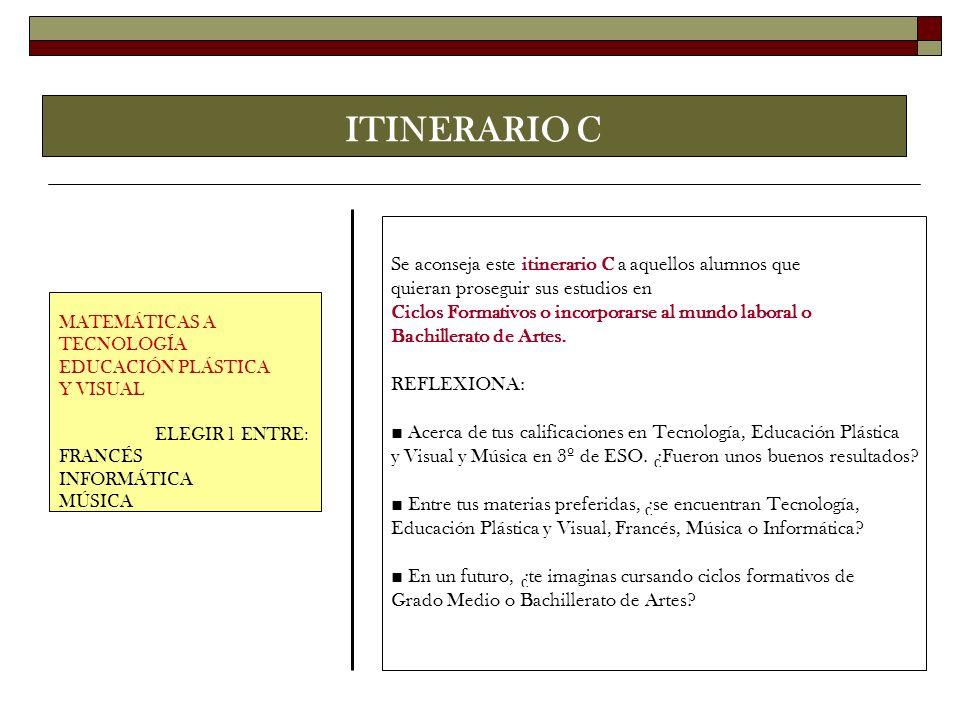 ITINERARIO C MATEMÁTICAS A TECNOLOGÍA EDUCACIÓN PLÁSTICA Y VISUAL ELEGIR 1 ENTRE: FRANCÉS INFORMÁTICA MÚSICA Se aconseja este itinerario C a aquellos