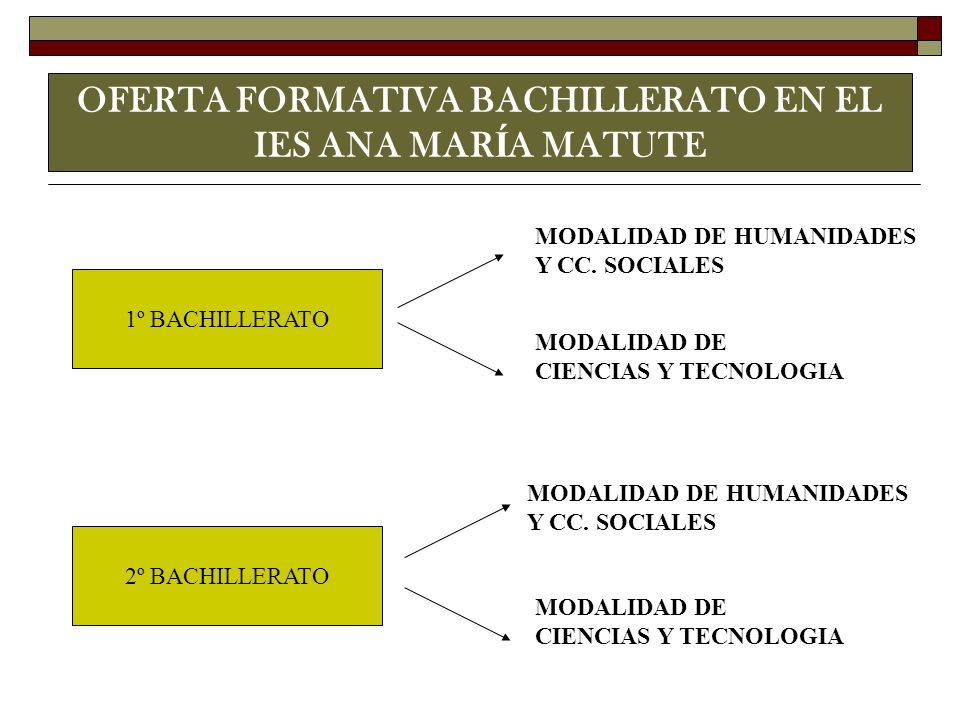 OFERTA FORMATIVA BACHILLERATO EN EL IES ANA MAR Í A MATUTE 1º BACHILLERATO 2º BACHILLERATO MODALIDAD DE HUMANIDADES Y CC. SOCIALES MODALIDAD DE HUMANI