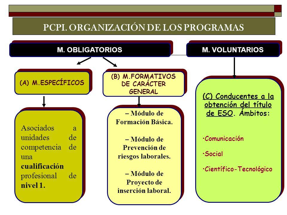 (A) M.ESPECÍFICOS (B) M.FORMATIVOS DE CARÁCTER GENERAL Asociados a unidades de competencia de una cualificación profesional de nivel 1. M. VOLUNTARIOS