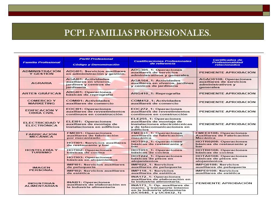 PCPI. FAMILIAS PROFESIONALES.