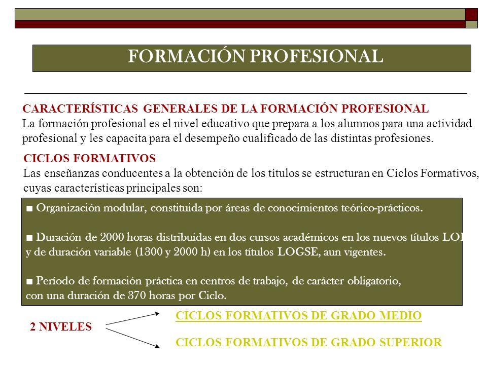 FORMACIÓN PROFESIONAL CARACTERÍSTICAS GENERALES DE LA FORMACIÓN PROFESIONAL La formación profesional es el nivel educativo que prepara a los alumnos p