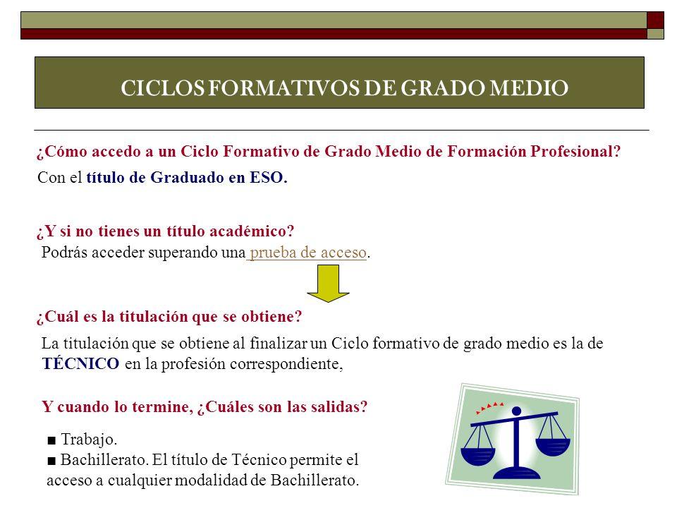 CICLOS FORMATIVOS DE GRADO MEDIO ¿Cómo accedo a un Ciclo Formativo de Grado Medio de Formación Profesional? Con el título de Graduado en ESO. ¿Y si no