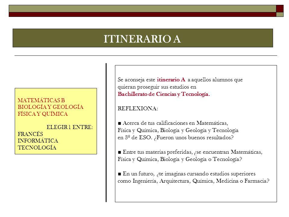 ITINERARIO A MATEMÁTICAS B BIOLOGÍA Y GEOLOGÍA FÍSICA Y QUÍMICA ELEGIR 1 ENTRE: FRANCÉS INFORMÁTICA TECNOLOGÍA Se aconseja este itinerario A a aquello