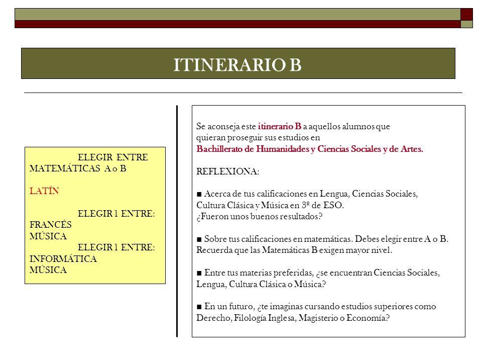 ITINERARIO B ELEGIR ENTRE MATEMÁTICAS A o B LATÍN ELEGIR 1 ENTRE: FRANCÉS MÚSICA ELEGIR 1 ENTRE: INFORMÁTICA MÚSICA Se aconseja este itinerario B a aq