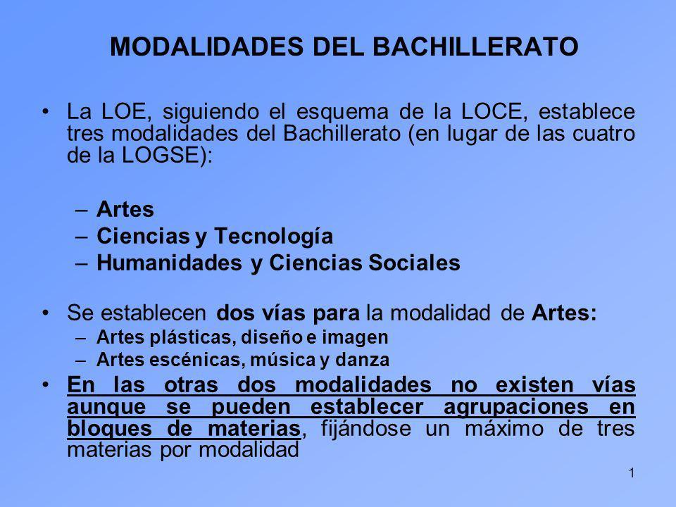 1 MODALIDADES DEL BACHILLERATO La LOE, siguiendo el esquema de la LOCE, establece tres modalidades del Bachillerato (en lugar de las cuatro de la LOGS
