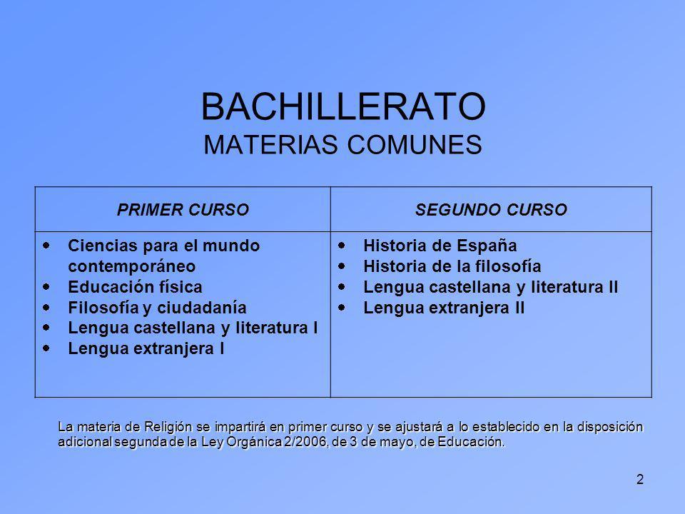 2 BACHILLERATO MATERIAS COMUNES PRIMER CURSOSEGUNDO CURSO Ciencias para el mundo contemporáneo Educación física Filosofía y ciudadanía Lengua castella