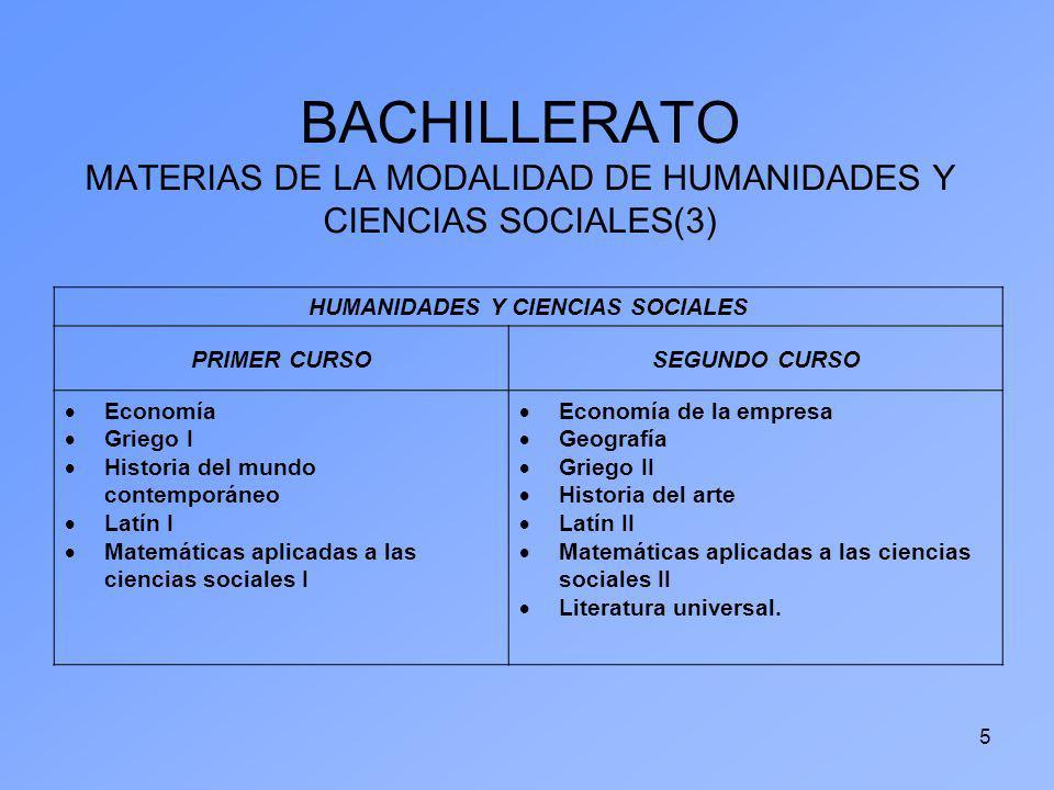 5 BACHILLERATO MATERIAS DE LA MODALIDAD DE HUMANIDADES Y CIENCIAS SOCIALES(3) HUMANIDADES Y CIENCIAS SOCIALES PRIMER CURSOSEGUNDO CURSO Economía Grieg