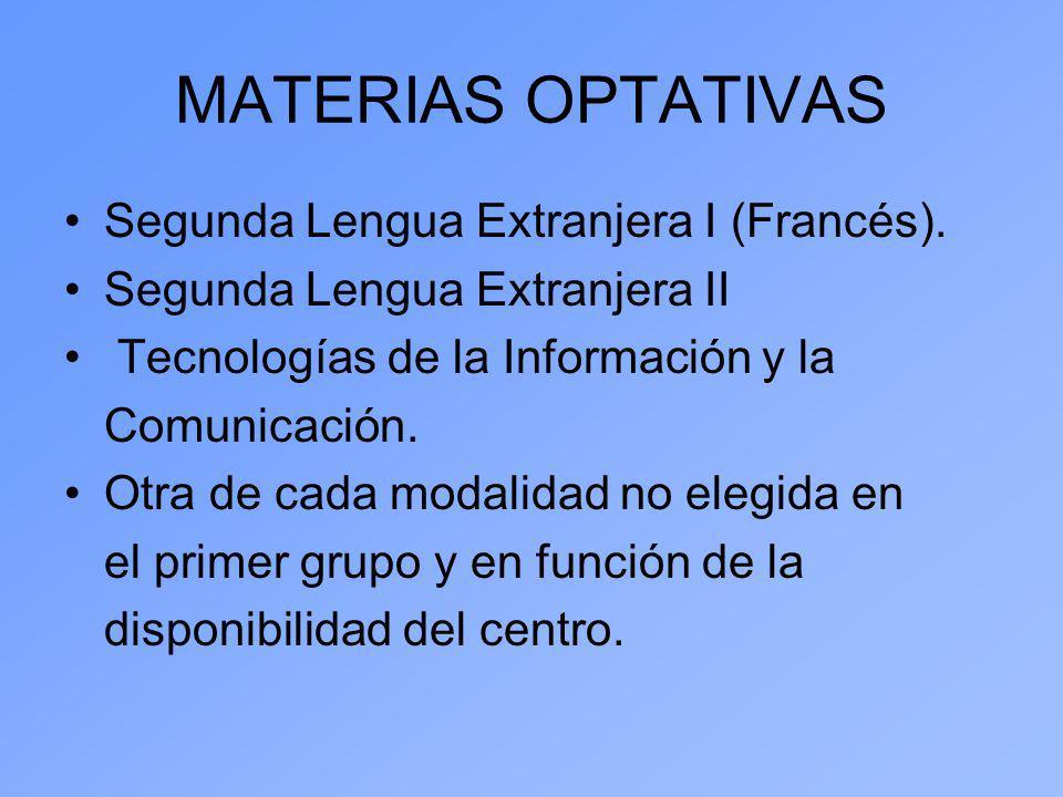 MATERIAS OPTATIVAS Segunda Lengua Extranjera I (Francés). Segunda Lengua Extranjera II Tecnologías de la Información y la Comunicación. Otra de cada m