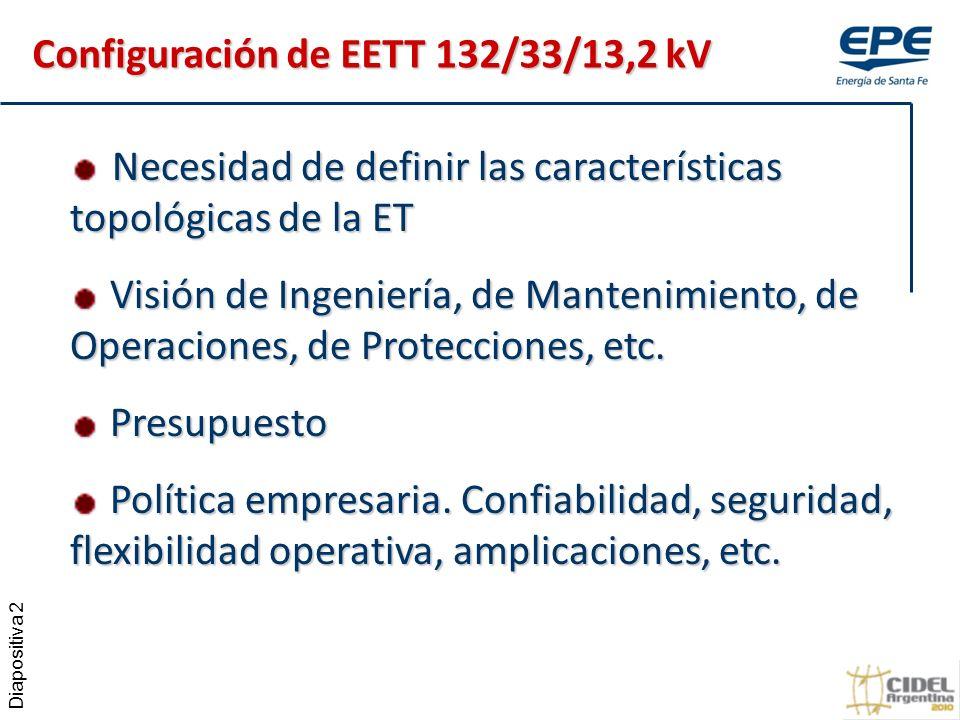 Diapositiva 2 Necesidad de definir las características topológicas de la ET Necesidad de definir las características topológicas de la ET Visión de Ingeniería, de Mantenimiento, de Operaciones, de Protecciones, etc.