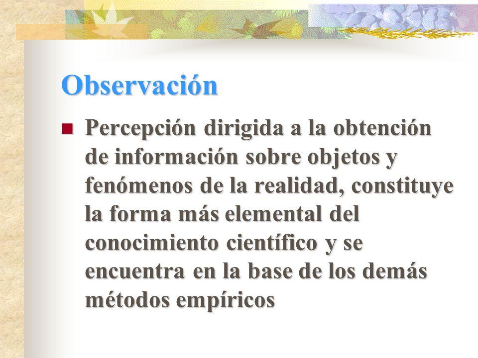 Observación Percepción dirigida a la obtención de información sobre objetos y fenómenos de la realidad, constituye la forma más elemental del conocimiento científico y se encuentra en la base de los demás métodos empíricos Percepción dirigida a la obtención de información sobre objetos y fenómenos de la realidad, constituye la forma más elemental del conocimiento científico y se encuentra en la base de los demás métodos empíricos